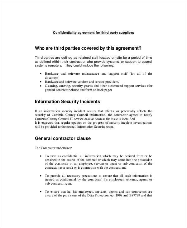 Basic Confidentiality Agreement Templates  Free Sample Example