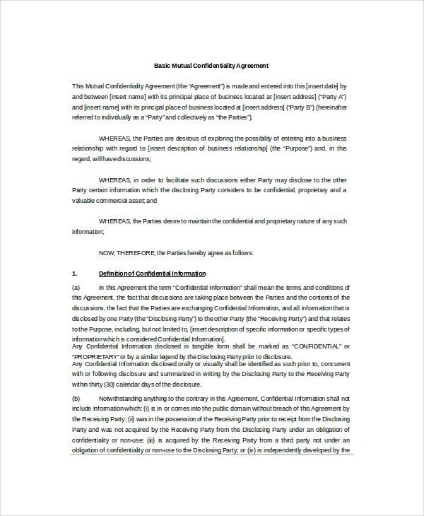 Basic Mutual Confidentiality Agreement