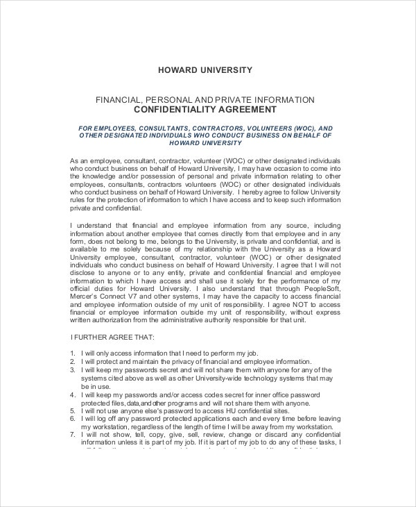 Basic Human Resources Confidentiality Agreement