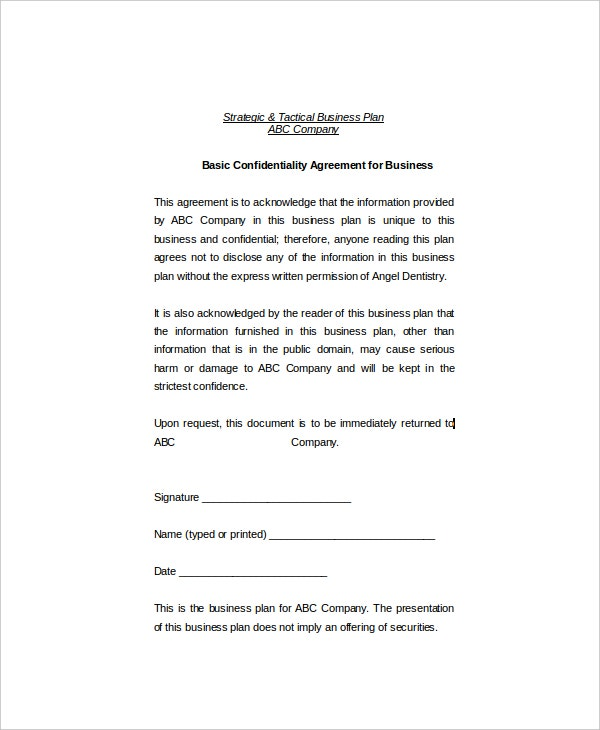 11+ Basic Confidentiality Agreement Templates – Free Sample