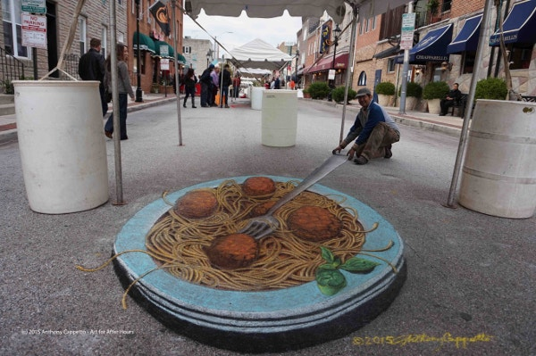Chinese Food Anamorphosis street art