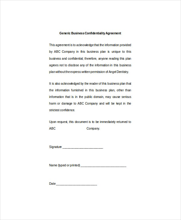 10 business confidentiality agreement templates free sample generic example business confidentiality agreement accmission