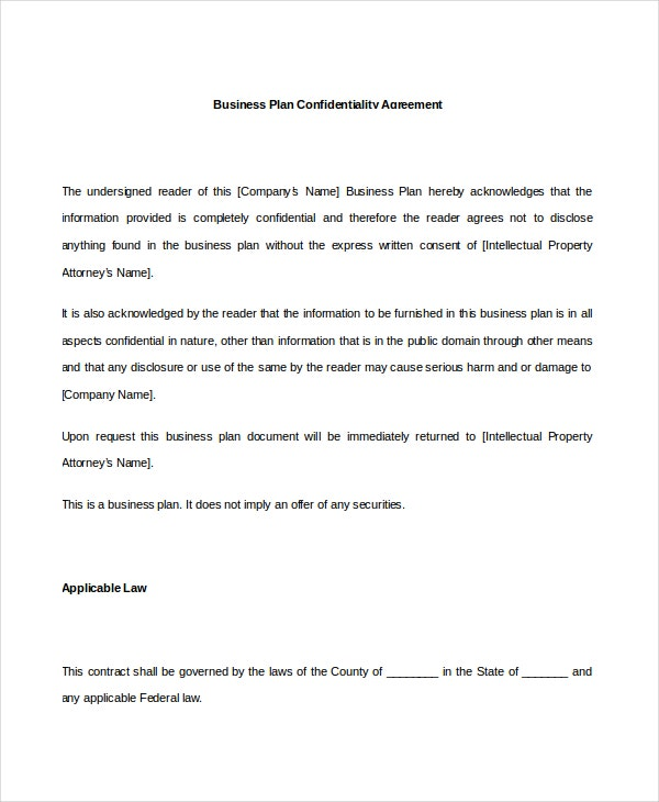 business plan sample confidentiality agreement
