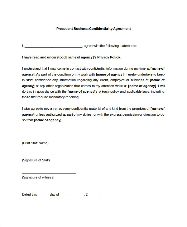 11 Business Confidentiality Agreement Templates Free Sample