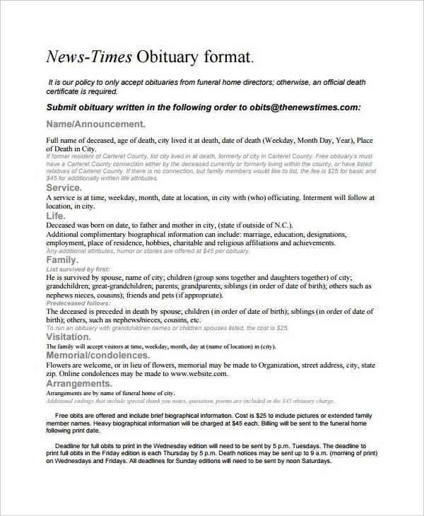 news times obituary format template