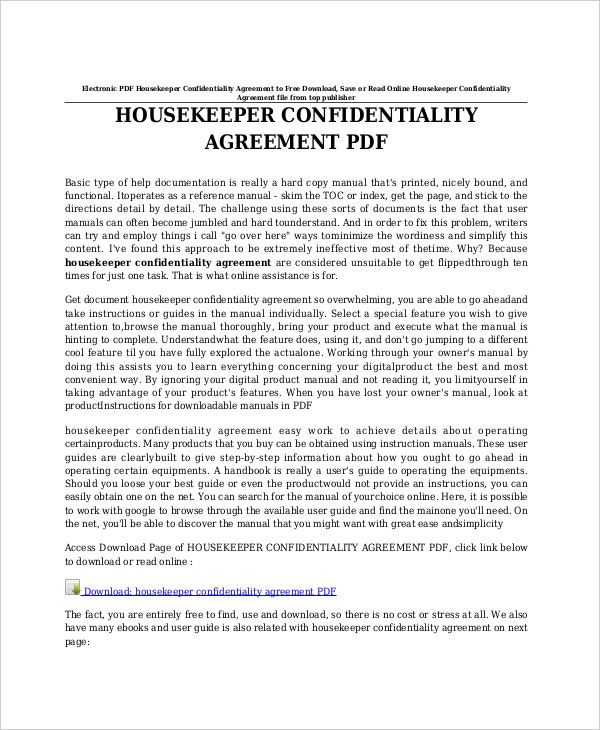 sample celebrity confidentiality agreement for housekeeper