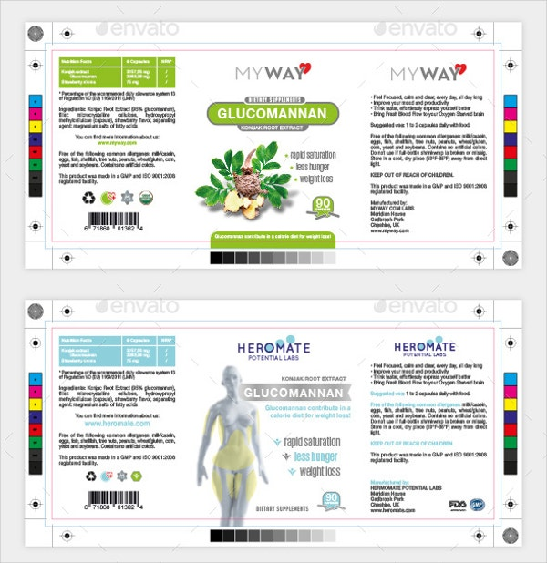 Nutrition Bottle Label Template