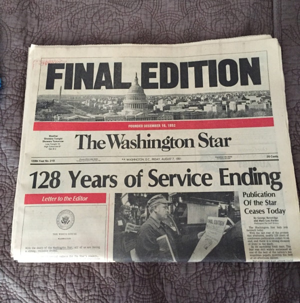 washington star final edition newspaper vintage template