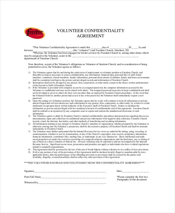 sample church volunteer confidentiality agreement