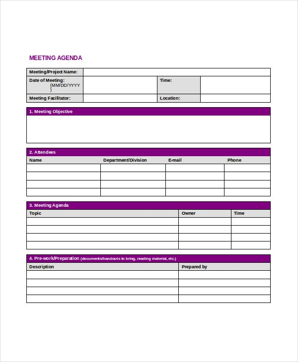 Professional Agenda Template - 5+ Free Word, PDF Documents Download ...