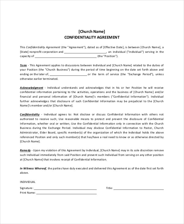 Church Confidentiality Agreement Templates  Free Sample