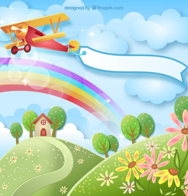 Spring Rainbow Background with a Plane