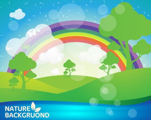 Summer Landscape Rainbow Background