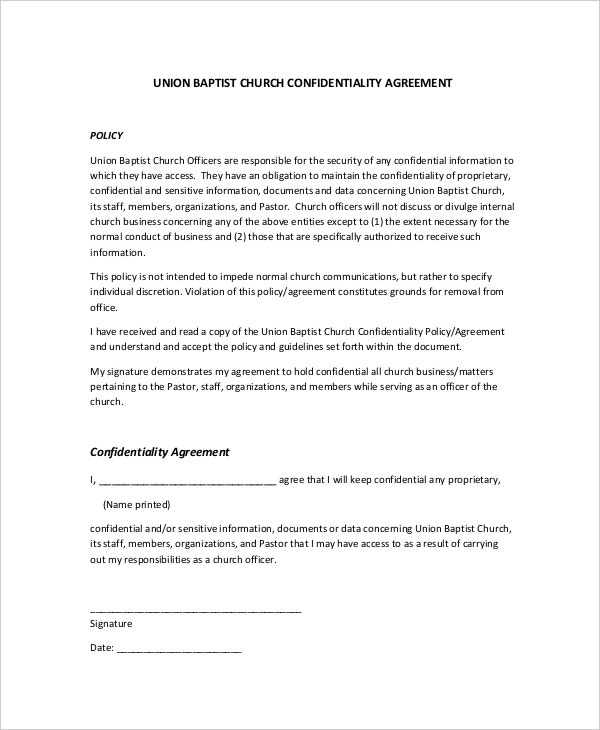 Church Confidentiality Agreement Templates Free Sample - Confidentiality policy template