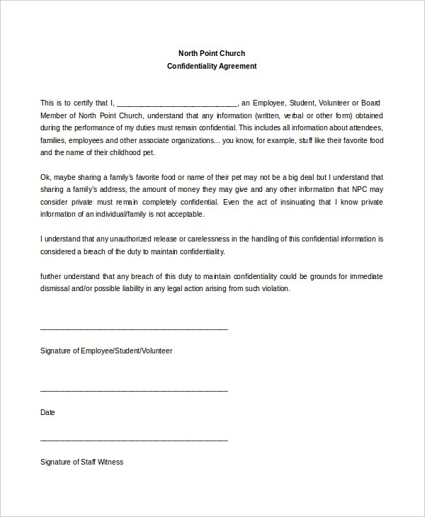 example church confidentiality agreement