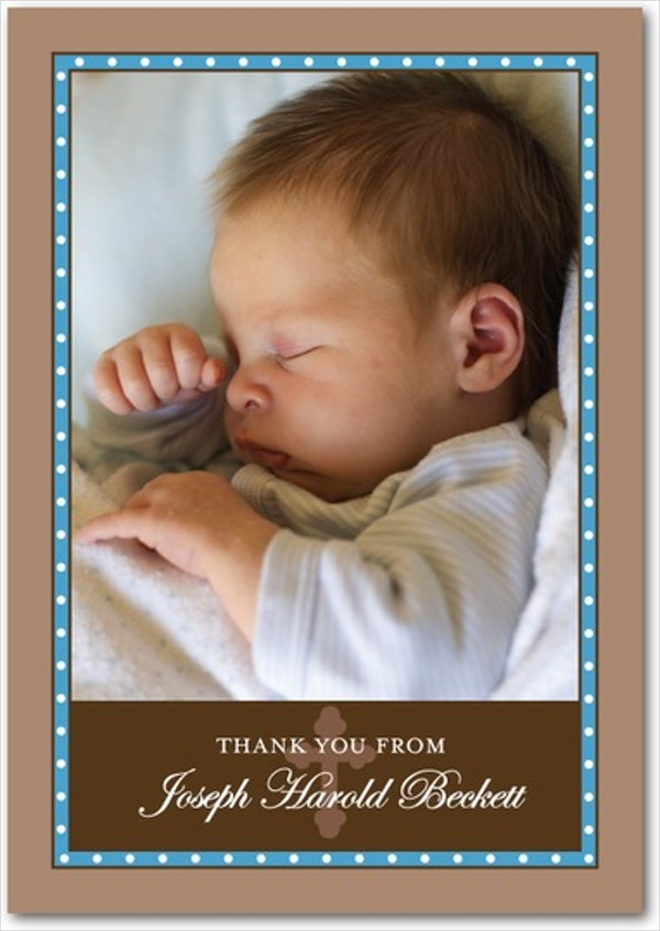 Blue Cross Photo Baptism Thank You Cards