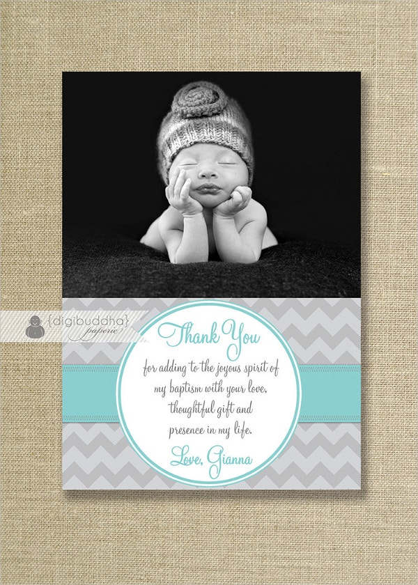 girl baptism thank you card