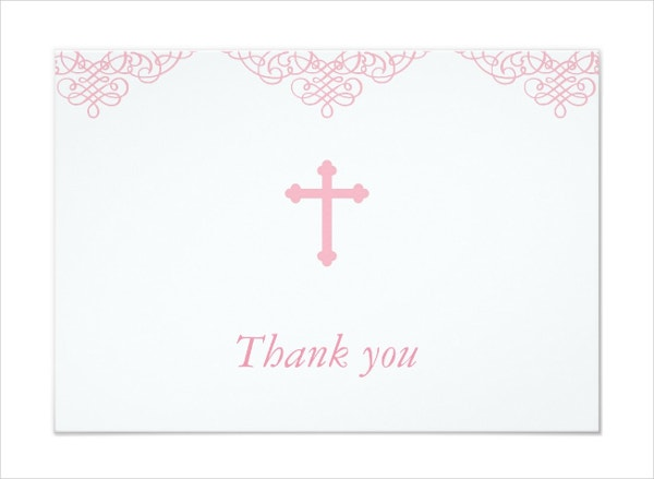 pink girls baptism thank you card