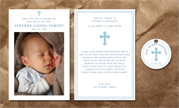 Boy's Baptism Thank You Card