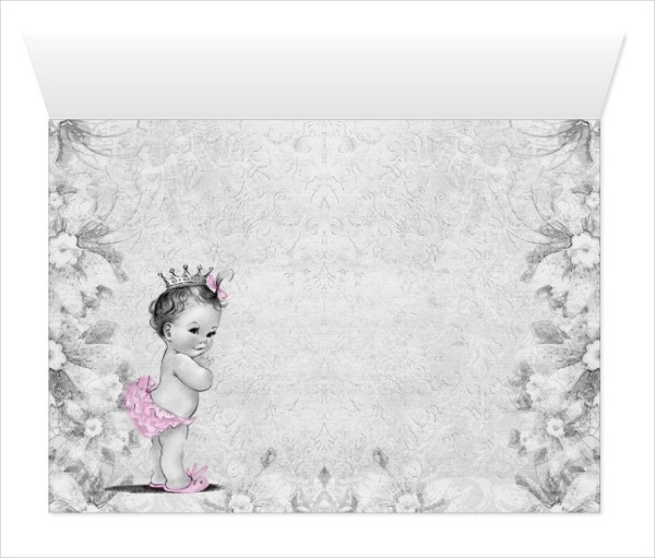 Vintage Pink Gray Girl Baptism Thank You Cards