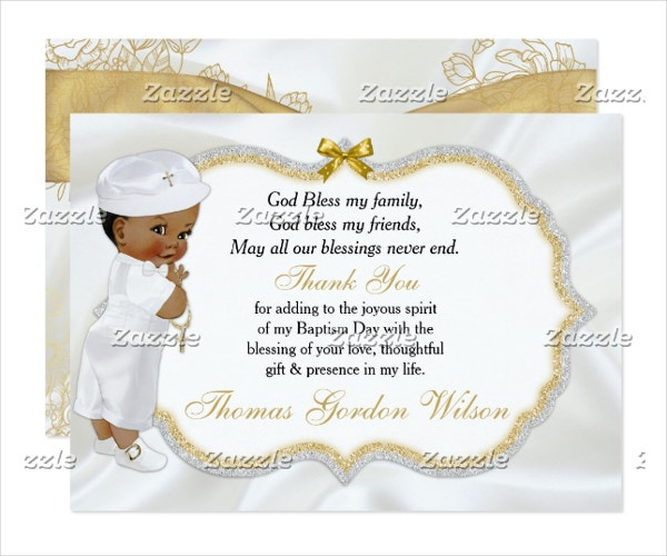 Vintage Baby Boy Baptism Gold Cross Thank You Card