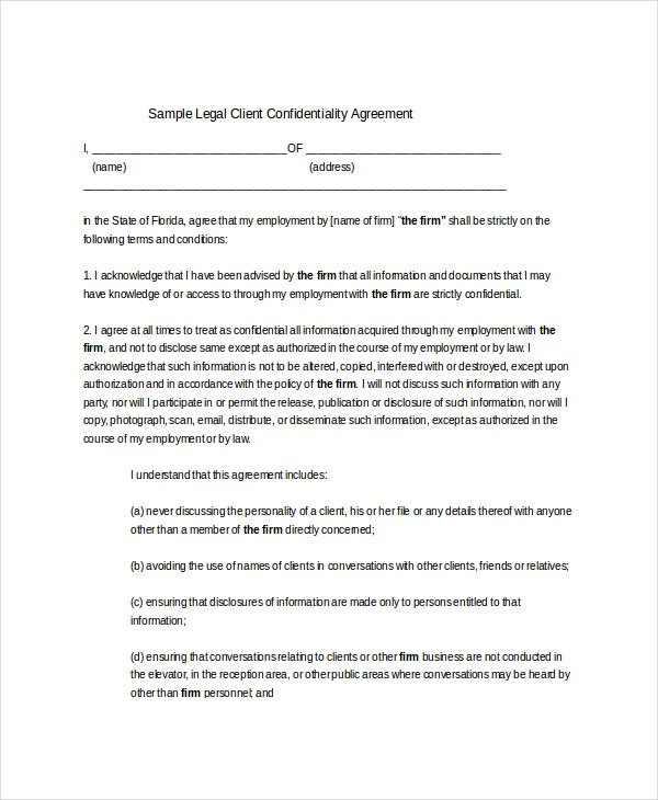 Delightful Sample Legal Client Confidentiality Agreement