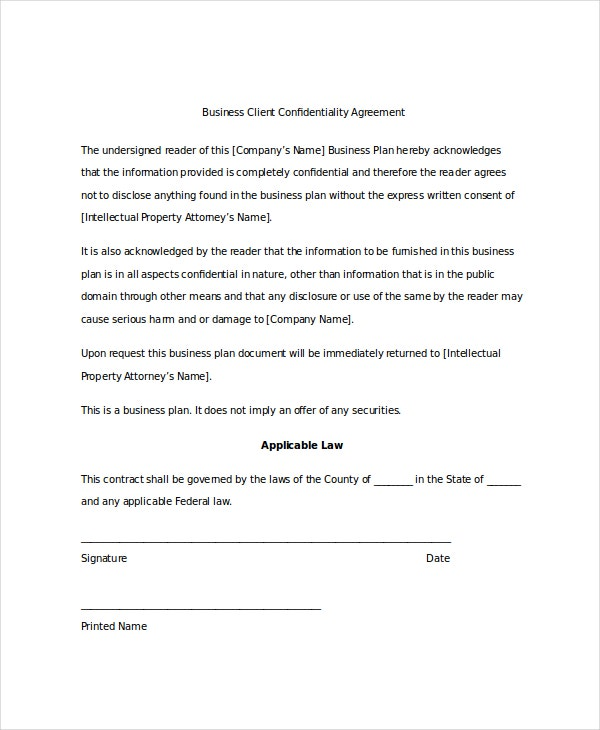 example business client confidentiality agreement