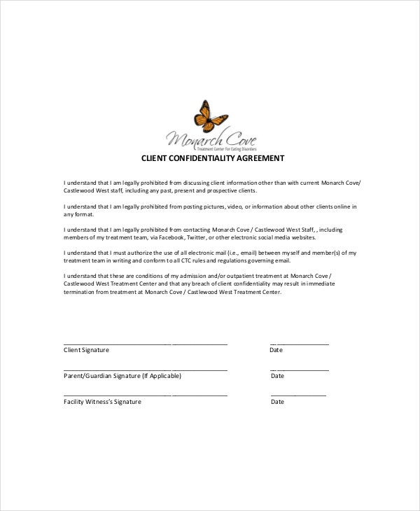 Client Confidentiality Agreement Templates  Free Sample