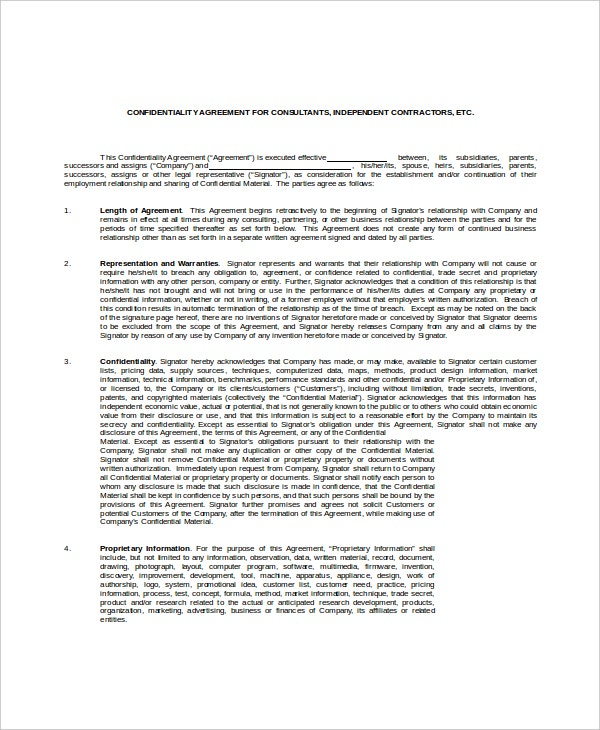 example client confidentiality agreement for consultant