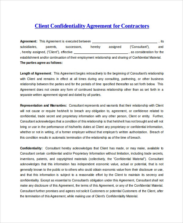 sample client confidentiality agreement for contractor