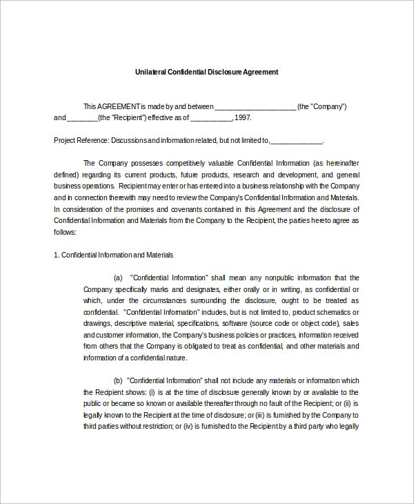 Confidential Disclosure Agreement Templates Free Sample - General nda template