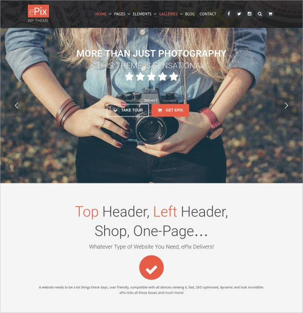 Photography WordPress Theme $59