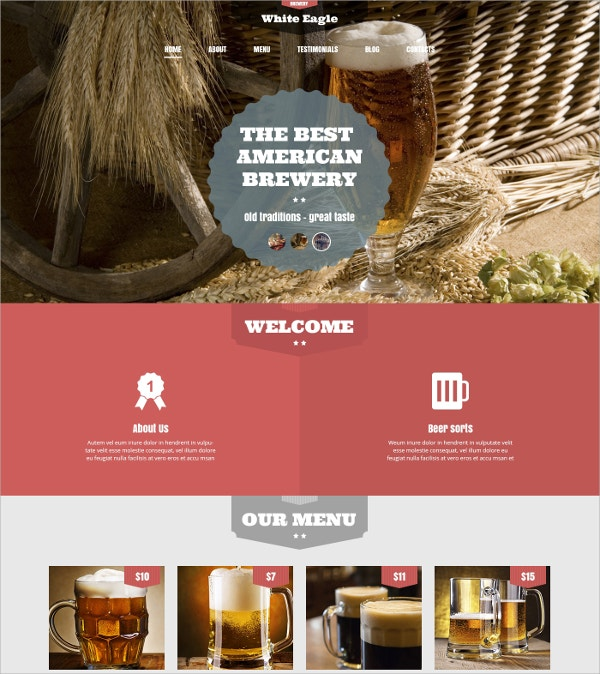 Best American Brewery WordPress Theme $75