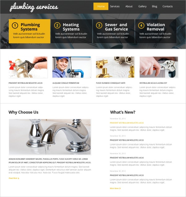 Plumbing Systems WordPress Theme $75