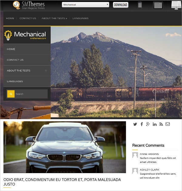 Mechanical & Construction WordPress Theme $75