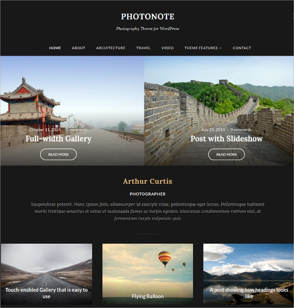 Beautiful Photo WordPress Template $69