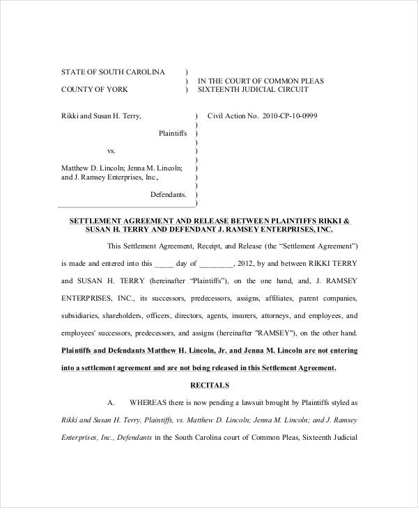 sample medical confidential settlement agreement