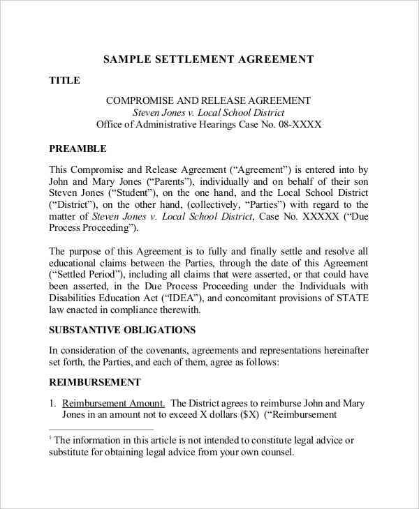 Confidential Settlement Agreement Templates  Free Sample