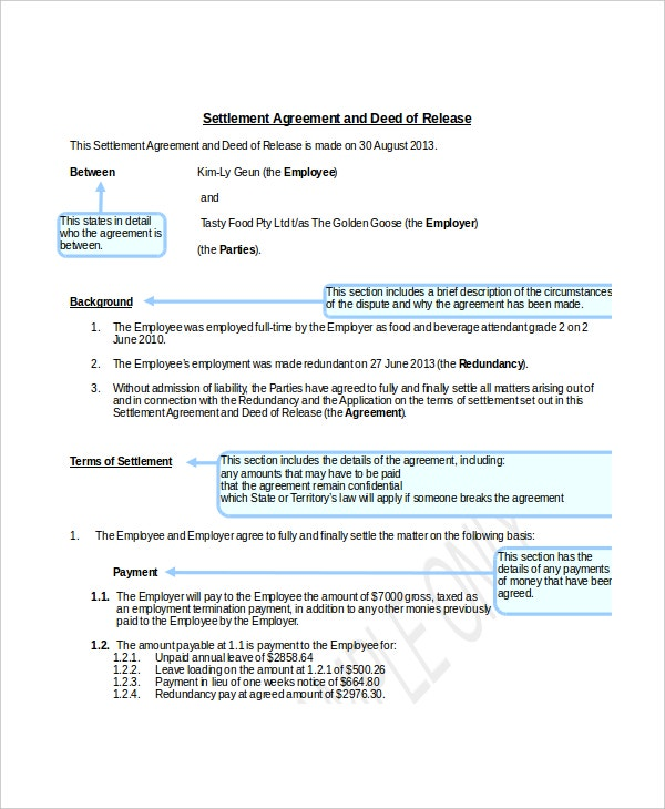 sample confidentiality settlement agreement and deed of release