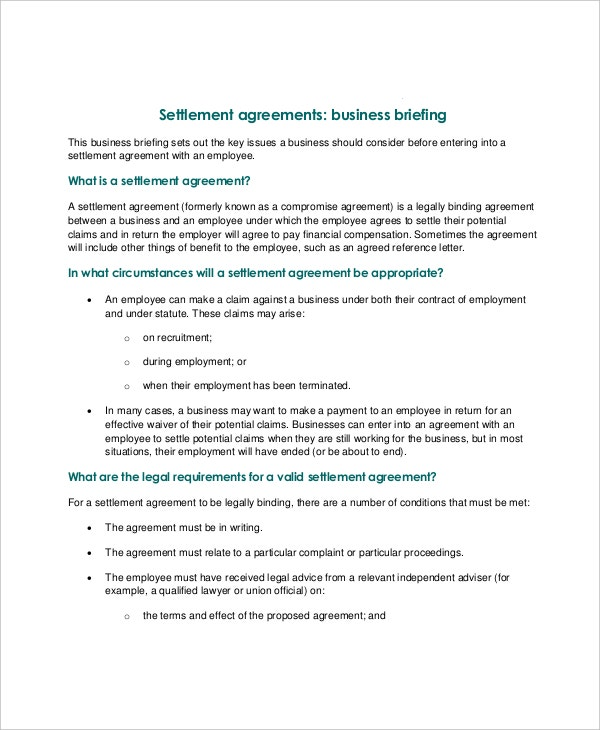 14 confidential settlement agreement templates free sample