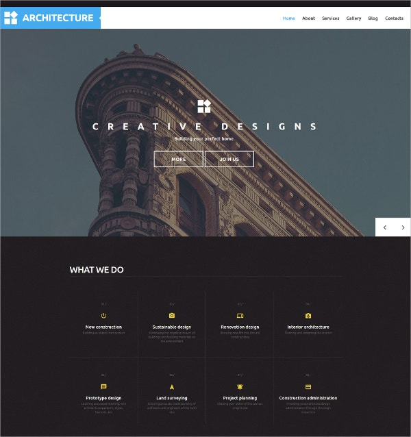 Simple & Beautiful Architecture WordPress Theme $75