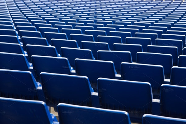 blue stadium seats background