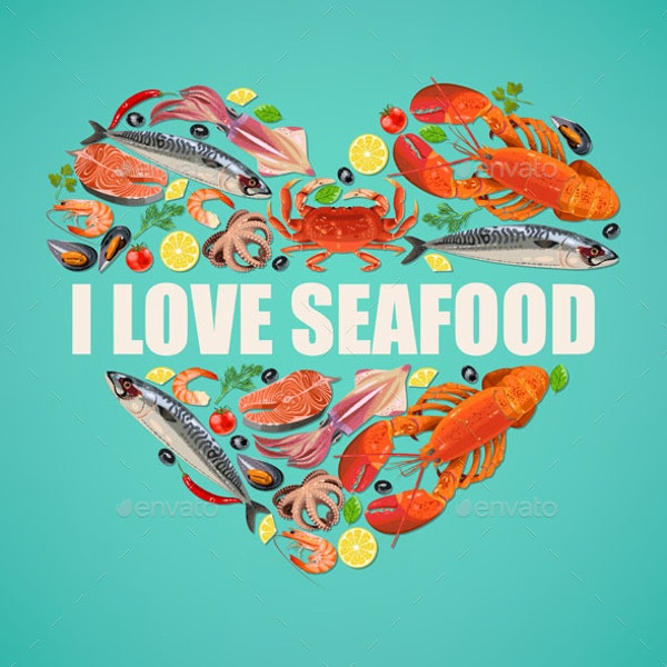 seafood on blue background