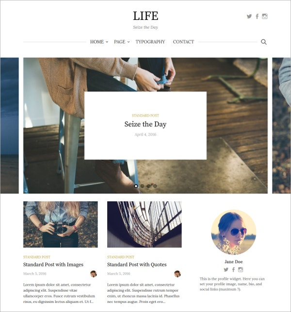 Simple Travel WordPress Blog Theme $44