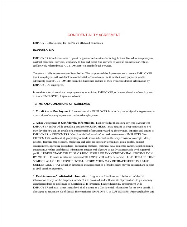 14  contractor confidentiality agreement templates