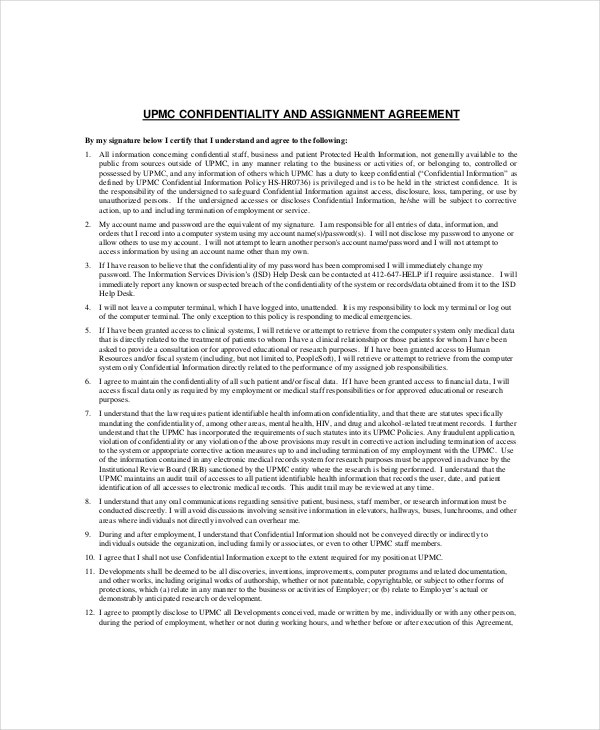 13 Contractor Confidentiality Agreement Templates Free Sample – Financial Confidentiality Agreement