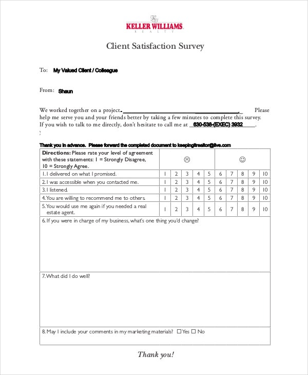 Client Satisfaction Survey Template -6+ Free Word, Pdf Documents
