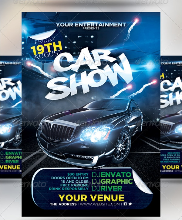 Car Show Flyer Template Free PSD AI EPS Format Download - Blank car show flyer