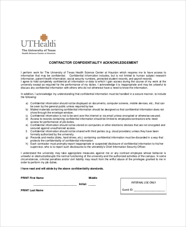 13+ Contractor Confidentiality Agreement Templates – Free Sample