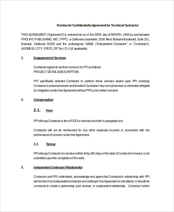 14 Contractor Confidentiality Agreement Templates Free Sample